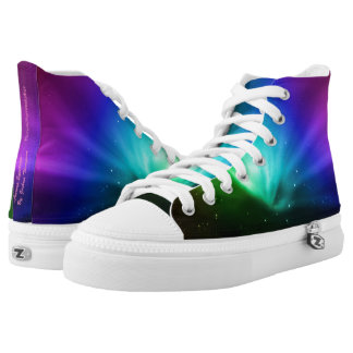 Aurora spectrum high top shoes, purple green blue