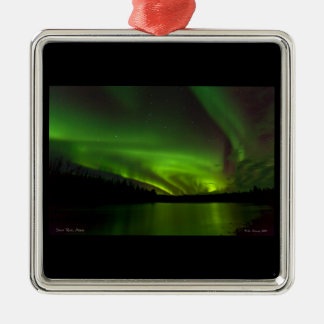 Aurora Swirls over the Salcha Metal Ornament