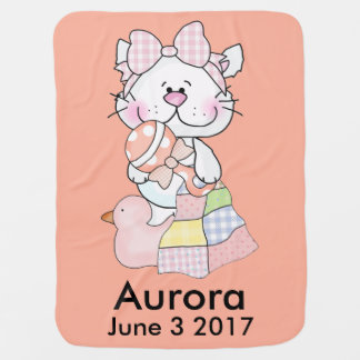 Aurora's Personalized Kitty Baby Blanket