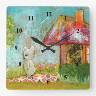 Auspicious Day Whimsical Woodland Mouse Folk Art Square Wall Clock