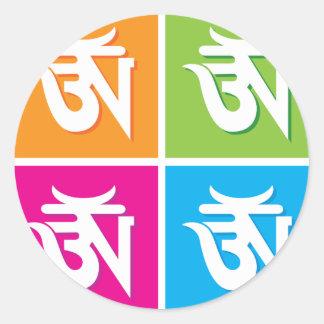 Auspicious Hindu OM / Aum Symbol Round Stickers
