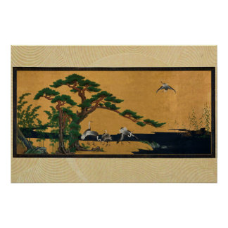 Auspicious pine, bamboo, plum, Crane, and turtles Poster