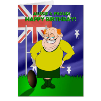 Aussie and Proud Rugby Birthday Card