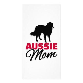 Aussie Australian shepherd Mom Personalized Photo Card