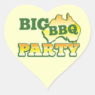 AUSSIE big BBQ party Heart Sticker