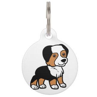 aussie black tri cartoon pet name tag