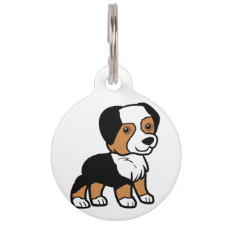 aussie black tri cartoon pet tags