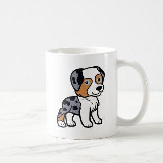 aussie blue merle cartoon coffee mug