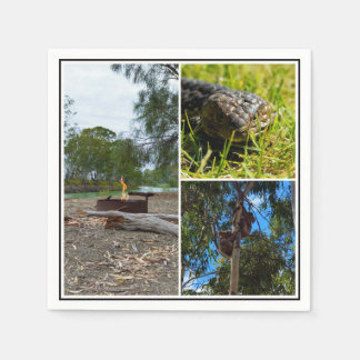 Aussie Blue Tongue Koala Bears Campfire Collage, Disposable Napkins