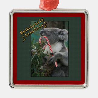 Aussie Christmas Koala with Candy Cane Silver-Colored Square Ornament