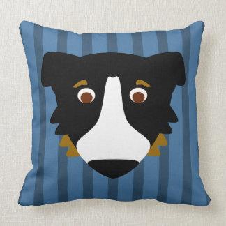 Aussie Dog on Blue Stripes Throw Pillow