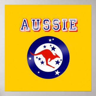 Aussie Kangaroo flag emblem logo gifts Poster
