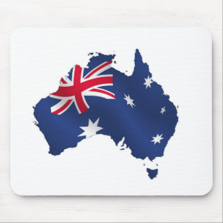 Aussie map flag mouse pad
