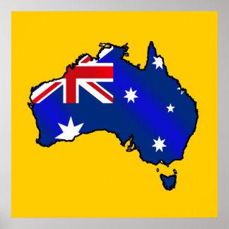 Aussie Map of Australia Oz flag gifts Poster