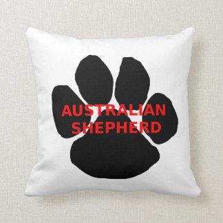 aussie name paw throw pillow