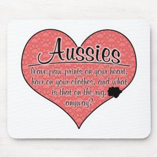 Aussie Paw Prints Dog Humor Mousepad