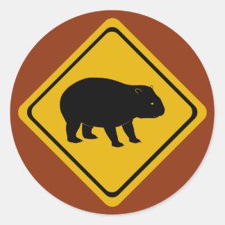Aussie road sign wombat classic round sticker