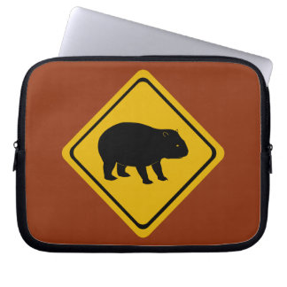 Aussie road sign - wombat -electronics laptop sleeve