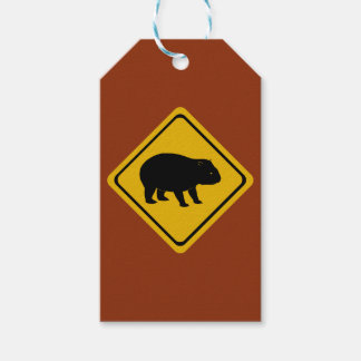 Aussie road sign wombat gift tags