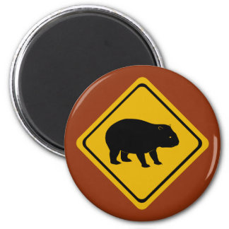 Aussie road sign wombat magnet