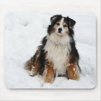 Aussie Shepherd Dog in Snow Mouse Pad