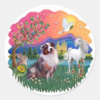 Aussie Shepherd (merle) Round Sticker