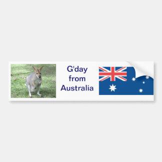 Aussie Wallaby G'day Bumper Sticker