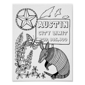 Austin Armadillo Cardstock Adult Coloring Page Poster