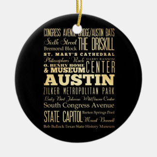 Austin City of Texas State Typography Art Ceramic Ornament