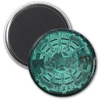 Austin City Texas Manhole Cover 2 Inch Round Magnet