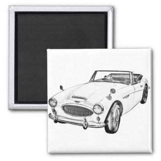 Austin Healey 300 Sports Car Illustration Fridge Magnet