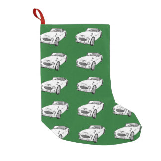Austin Healey 300 Sports Car Illustration Small Christmas Stocking
