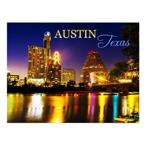 Austin, horizon du Texas la nuit Carte Postale