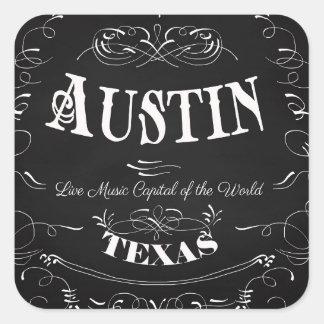Austin, le Texas - capital de musique en direct du Sticker Carré