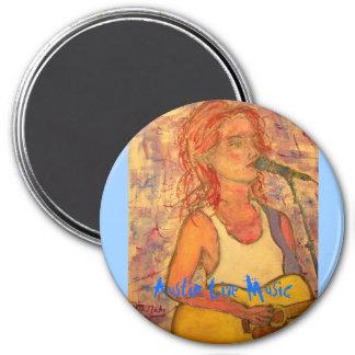 Austin Live Music Girl 3 Inch Round Magnet