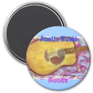 Austin Music Rocks 3 Inch Round Magnet