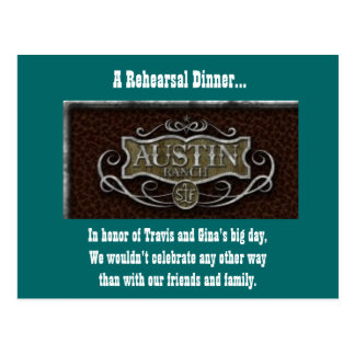Austin Ranch logo, A Rehearsal Dinner..., In ho... Postcard