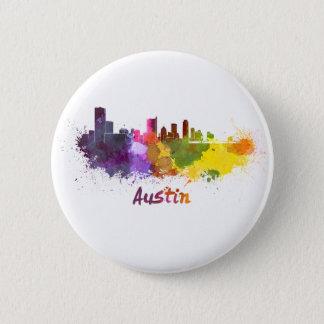 Austin skyline in watercolor 2 inch round button