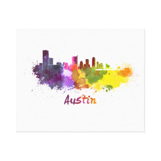 Austin skyline in watercolor canvas print