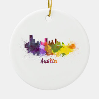 Austin skyline in watercolor ceramic ornament