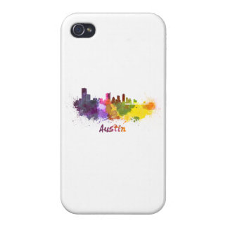Austin skyline in watercolor cover for iPhone 4