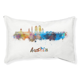 Austin skyline in watercolor pet bed
