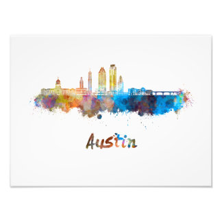 Austin skyline in watercolor photo print