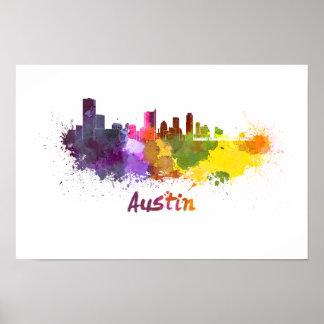 Austin skyline in watercolor poster