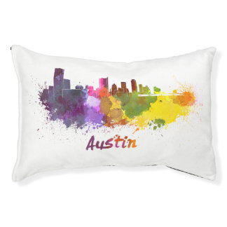 Austin skyline in watercolor small dog bed