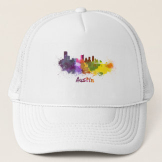 Austin skyline in watercolor trucker hat