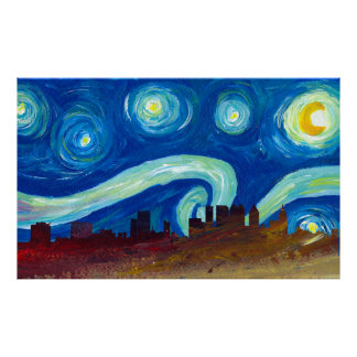 Austin Skyline Silhouette at  Starry Night Poster
