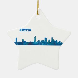 Austin Skyline Silhouette Ceramic Ornament