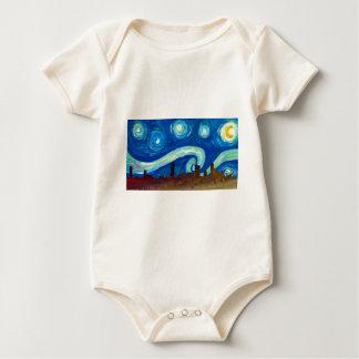 Austin Skyline Silhouette with Starry Night Baby Bodysuit