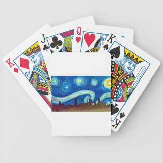 Austin Skyline Silhouette with Starry Night Bicycle Playing Cards
